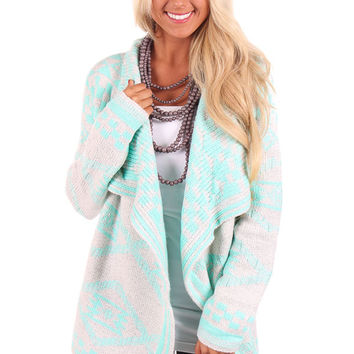 Mint and Grey Checkered Pattern Cardigan