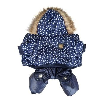 New Star Pattern Pet Dog Clothes Warm Jacket Coat For Small Dogs Windbreaker Dog Coat Thicker Cotton Hooded Coat For Chihuahua