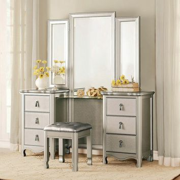 3 pc Toulouse collection champagne finish wood bedroom make up vanity set