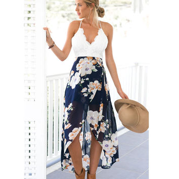 Backless Floral Print Chiffon Dress Patchwork Lace Embroidery V Neck Open Back High Low Slip Back Zipper Sheer Beach Dress
