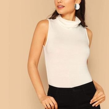 Cowl Neck Sleeveless Solid Top
