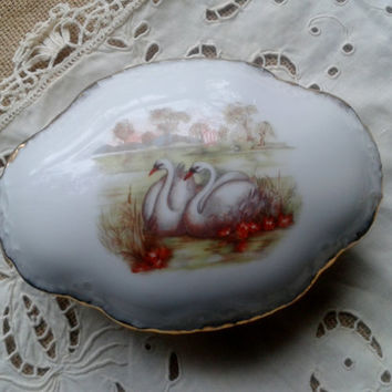 Swan Couple French Porcelain Box  Lake   Weeping Willow Limoges France Signed Romantic 60's Bridal Casket Box