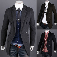 Double Breasted Blazer Style Men Slim Fashion Coat