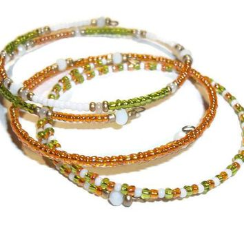 Lime Green, Peachy Orange & White Glass Beaded Artisan Crafted Stackables Wrap 3 Bracelet Set (XS-M), Jewlery Set, Gift for Her, Birthday Gift