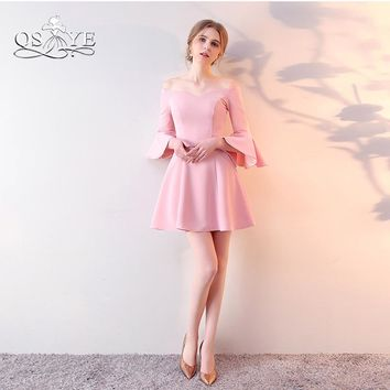 Blush Pink Short Prom Dresses 2018 New Arrival Off Shoulder Sweetheart Stretch Satin Formal Evening Party Gown Custom Made