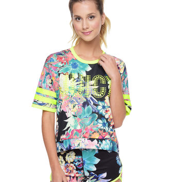 RAINFOREST FLORAL TRICOT TOP