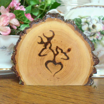 Deer Wedding Cake Topper Simple Rustic Wood Burned Wooden