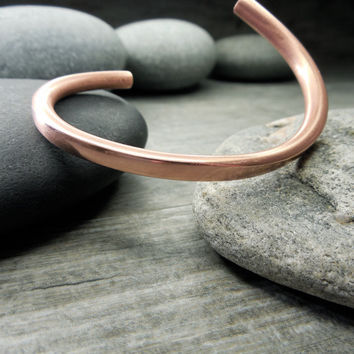Abstract Bracelet, Unisex Jewelry, Copper Cuff, For Men and Women, Minimalist Design, Contemporary Style, Modern Zen, Cold Forged Metal