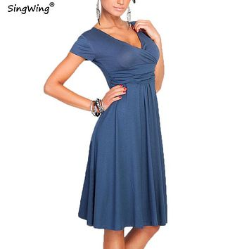 Singwing Women Deep V-neck Dresses Solid Color Short Sleeve Summer Dress Casual Style Lady's Dresses