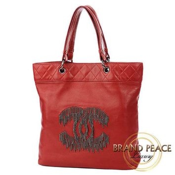 CHANEL Matelasse Coco Mark fringe chain tote bag lambskin Red Free Shipping