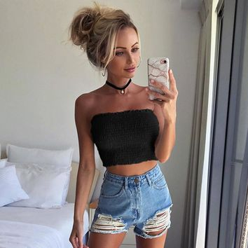 Women Strapless Elastic Crop Tops Bra Lingerie Breast Wrap Sexy Girls Yoke Frill Trim Slim Tank Top Haut Femme #9
