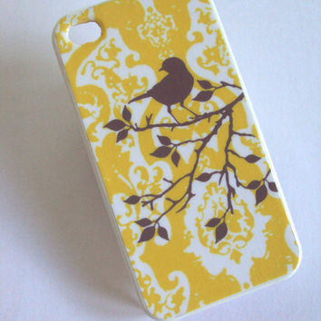 Cover iPhone 4 4S Yellow and Gray Damask Original Artwork