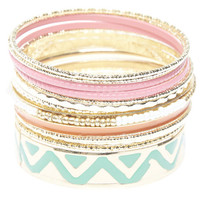 Neon Tribal Bangle Bracelet Set | Wet Seal