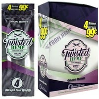 Twisted Hemp Blunt Wraps Grape Burst Flavor (60 wraps)