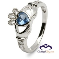 Ladies Birthstone Silver Claddagh Ring LS-SL90-12