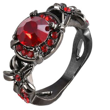 Round Crystal Red Zircon Wedding Rings For Women