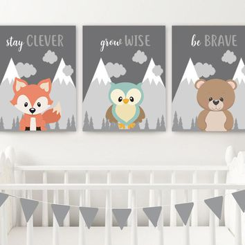 WOODLAND Animals Wall Art, Woodland Animals Quotes Nursery Decor, Baby Boy Nursery Canvas or Prints Woodland Creatures Artwork Set of 3