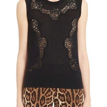 Dolce&Gabbana Lace Inset Cashmere Blend Sweater | Nordstrom