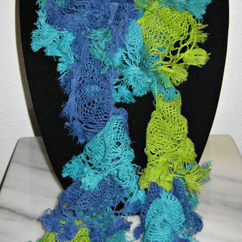 Scarf - Blue/Green Scarf, New Chateau Tassel Fringe