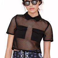 Black Mesh Double Pocket Short Sleeve Top