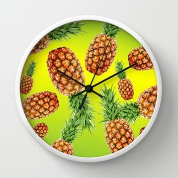 LOST IN PINEAPPLES Wall Clock by hardkitty