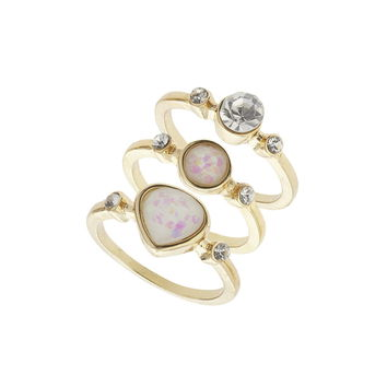 Pretty Stone Stack Rings - Miss Selfridge