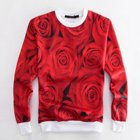 New Fashion Sport Emoji 3D Harajuku Print Red Rose Sweatshirts