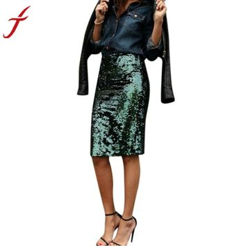 High Waist Skirt 2016 Newest Women Fashion Pencil Knee-length Green Sequined Skirts Feminina Saias Midi Skirt