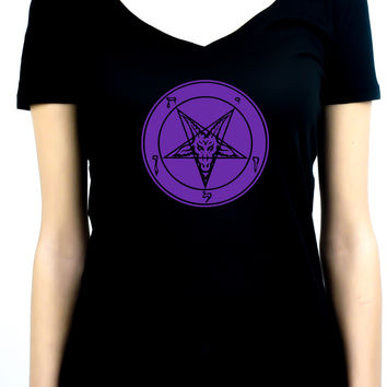 Solid Purple Classic Inverted Pentagram Sabbatic Goat Symbol Women's V-Neck Shirt Top