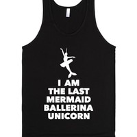 Mermaid Ballerina Unicorn-Unisex Black Tank