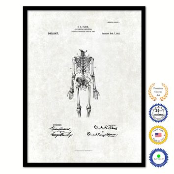 1911 Doctor Anatomical Skeleton Vintage Patent Artwork Black Framed Canvas Print Home Office Decor Great for Doctor Paramedic Surgeon Hospital Medical Student