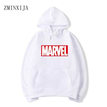 Hot 2018 Autumn And Winter White hoodie Brand Sweatshirts Men/Women  High Quality MARVEL letter printing fashion mens hoodies
