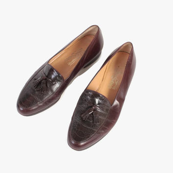 Vintage Men's FERRAGAMO SHOES / 1970s Brown Leather Faux Gator Tassel Loafers 10