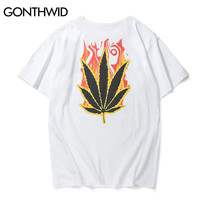 Leaf Flame  T-Shirt Men Summer Green Energy Printed T shirts Hip Hop Fashion Casual Short Sleeve Tops Tee