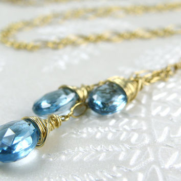 Genuine Blue Topaz Necklace, Y Style Pendant, Gold Filled, Dainty Handmade Gemstone Jewelry, December Birthday, Birthstone, Ready To Ship