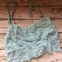 SMALL Aqua Lace Bralette, made to be seen, lace, wear with tank tops, trendy, fashionable, must have accessory for spring/summer