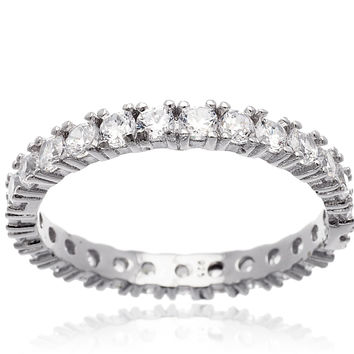 925 Sterling Silver 2mm Band Ring with Cubic Zirconia (6)