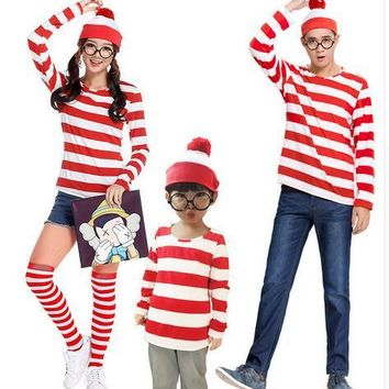 Parent-Child Cartoon Where is Wally Waldo Cosplay Costume Red Stripe Shirt +Hat +Glasses