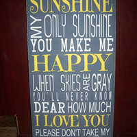 You Are My Sunshine Song- Subway Art, Childrens Art, Nursery Art, Kids Sign, Sunshine Song, Kids Room Decor