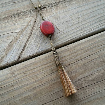 horse hair & red wood pendant // R166