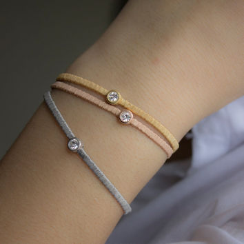 Silver bracelets, Bracelets With Zircon Gem , Gold Plated  925 Silver , Friendship Bracelet