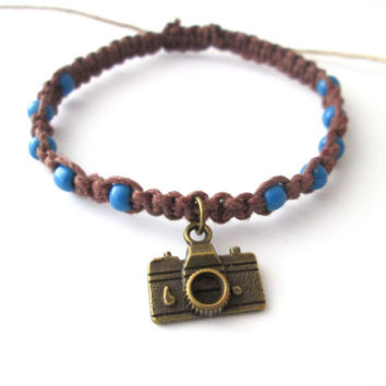 Photographer Bracelet Camera Charm Brown Hemp Bracelet Blue Seed Beads Beach Bracelet OOAK Hemp Jewelry