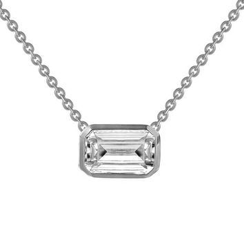 Lafonn Simulated Emerald Cut Diamond Sideways Bezel Pendant