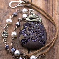 Purple rose necklace-Purple cherry creek jasper engraved stone pendant