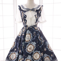 Branded New Spring/Summer Sweet Lolita JSK Dress Women's Navy Blue Kawaii Printed Midi Dress Free Shipping