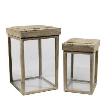 Set of 2 Beach Day Rustic Chic Glass and Fir Wood Lidded Display Boxes 16.5""