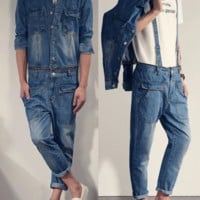 Jean Jumpsuit with Detachable Denim Jacket and Overalls