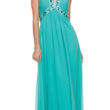 Jade Empire Silhouette Formal Dress Jeweled V Neck Ruched Bodice