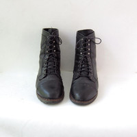 vintage black leather boots. Lace up Ropers. Western Boots.
