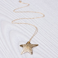 """Gold Star Necklace, Long Necklace, 14k gold filled, Layered Necklace, Star Necklace, Best Friend Gift,  Star Jewelry, Gold Necklace,""""Metope"""""""